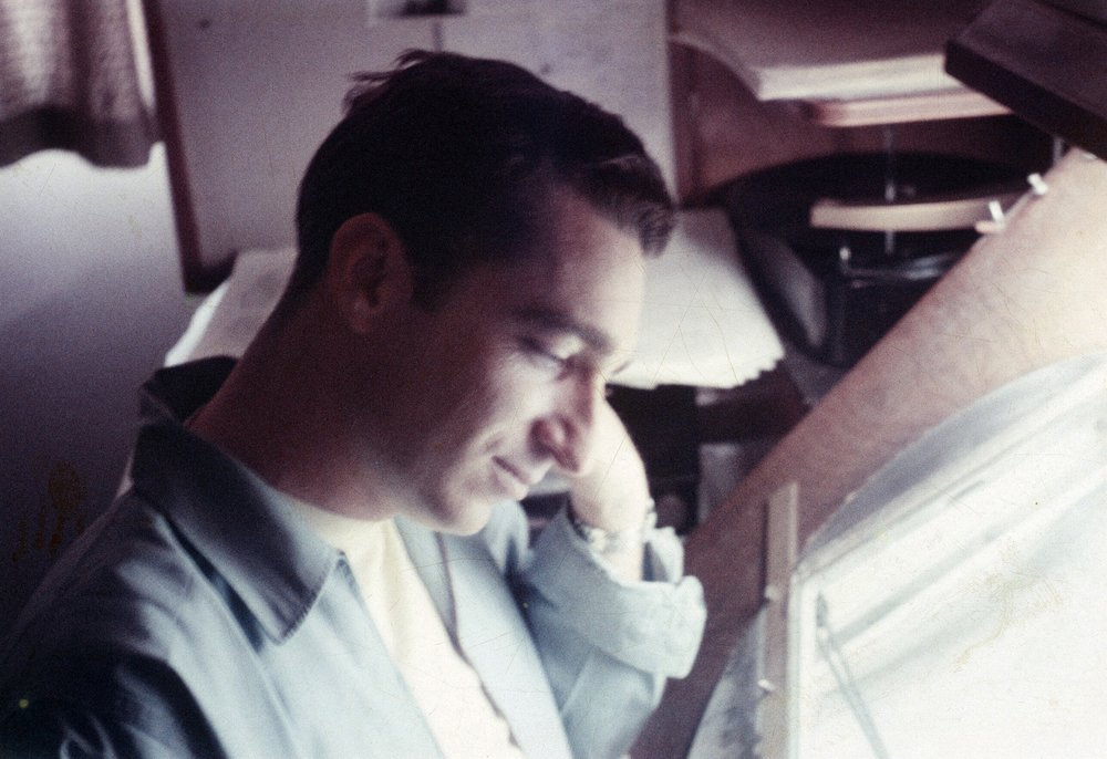"Disney assistant animator, Chuck Williams. This photograph was taken in 1957 in our G-wing office while we worked on the Disney classic ""Sleeping Beauty."""