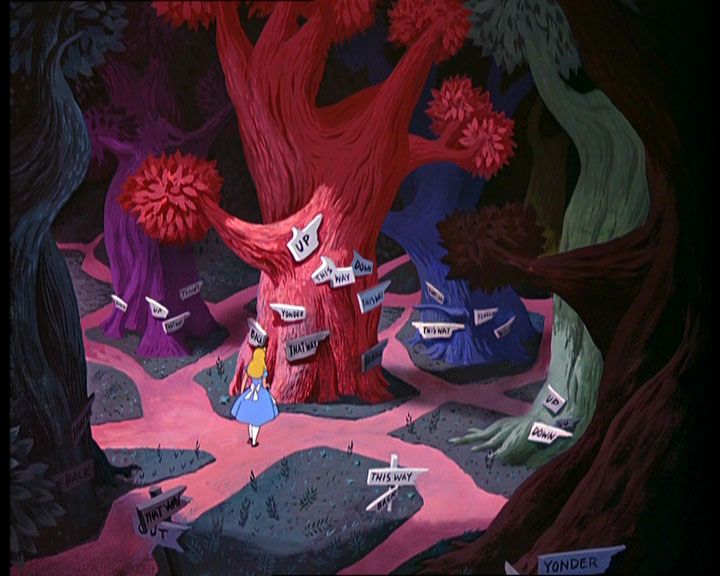 I love this image from Walt Disney's Alice in Wonderland. Tough choices, Alice.