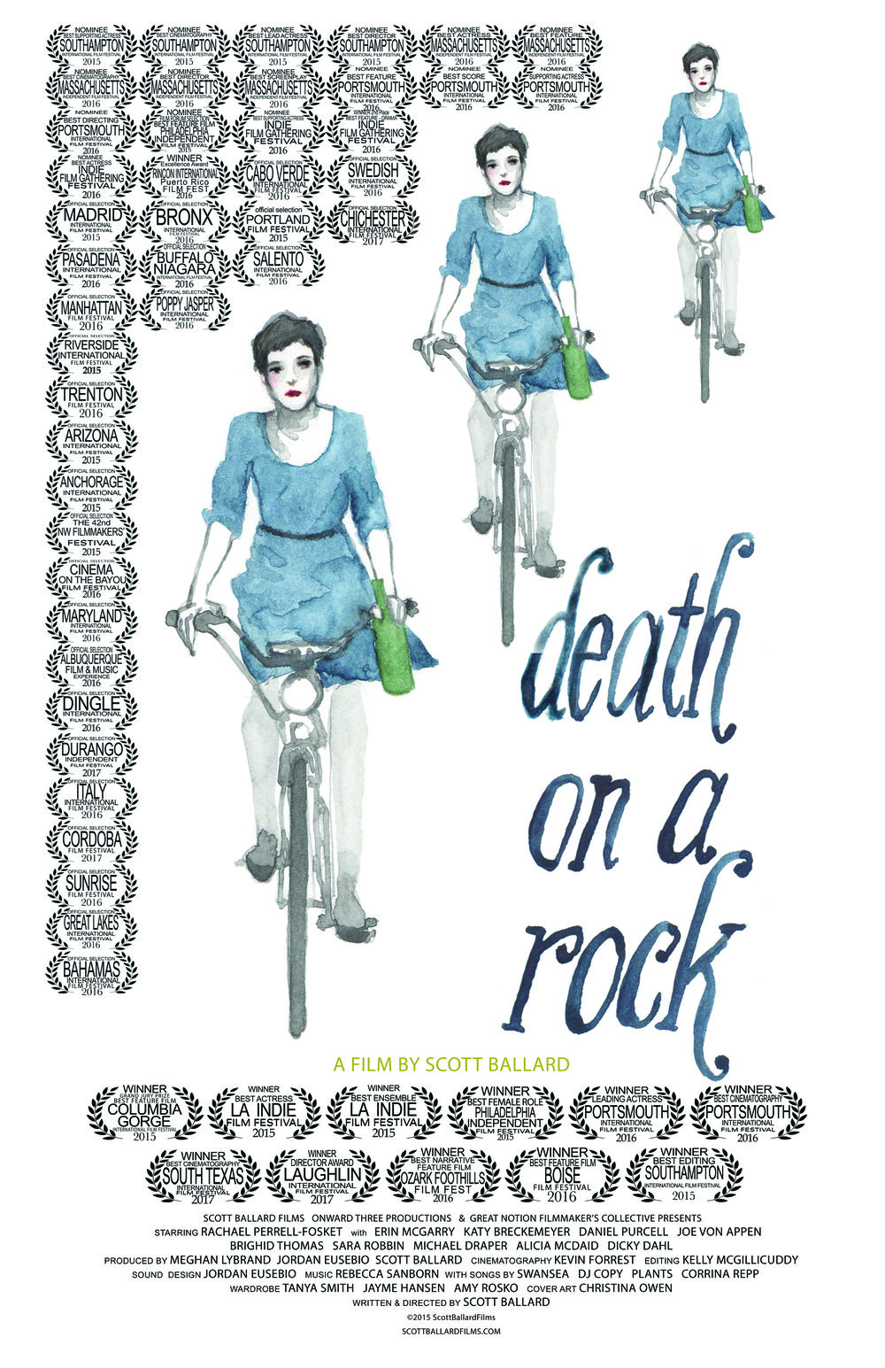 Death on a Rock - Written & Directed by Scott BallardThe film follows a young woman coming to terms with a trying event in her life. Lillian's (Rachael Perrell Fosket) bright outlook—she loves her job in a flower shop and has a sweet budding relationship with her boyfriend— is rocked by illness. Days spent in long term care at the hospital bring reflection, desperation, and some family tension. This vibrantly shot tale follows Lillian's year of happiness, pain, and growth, told through flashbacks and drifting between memories and shifting consciousness. Seen through a framework of loss, Death On A Rock is a bittersweet tale balanced between tragedy and levity.DeathOnARock.com / ScottBallardFilms.com /facebook.com/deathonarockTwitter: @DeathOnARock Instagram: DeathOnARock2015 - Feature Film - RAW HD - 80 Minutes