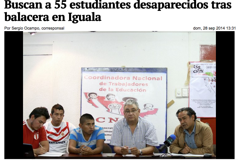 Press conference in Iguala after parents arrive to search for missing students.
