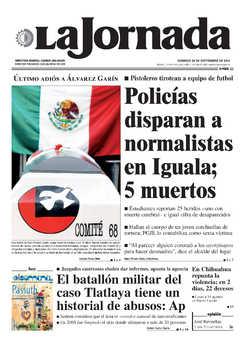 Headline for La Jornada, September 28th, 2014
