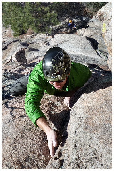 Climber on lead on a traditional route in Prescott, Arizona.