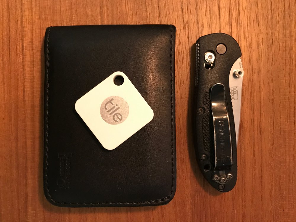 My Tile Mate, wallet, and knife for scale.