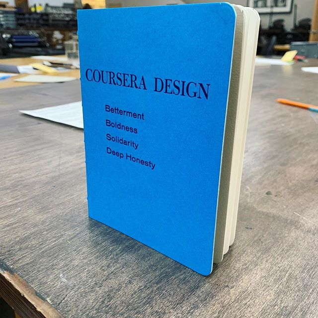 Had such an amazing experience taking the bookbinding workshop today with @coursera design team! 💙💙💙 . . . . #lifeatcoursera #coursera #teambuilding #bookbinding