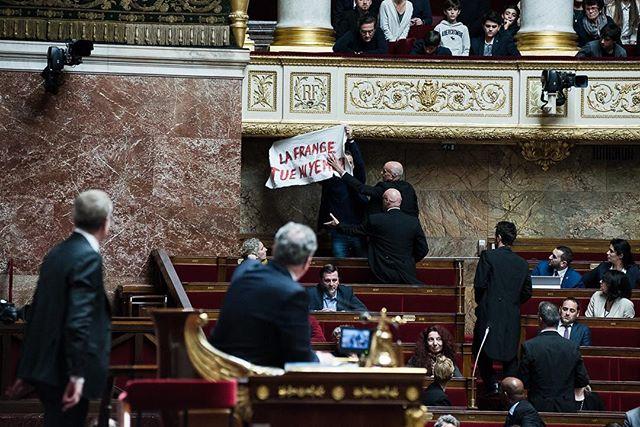"""Paris, France le 19 février 2019 - Les huissiers viennent retirer la banderole que brandit le député Sébastien Nadot sur laquelle est inscrit """"La France tue au Yemen"""" durant la séance des Questions au gouvernement à l'Assemblée nationale. #Photojournalisme #Politique #Politics #Nikon @nikonfr #D750 #80200mm"""