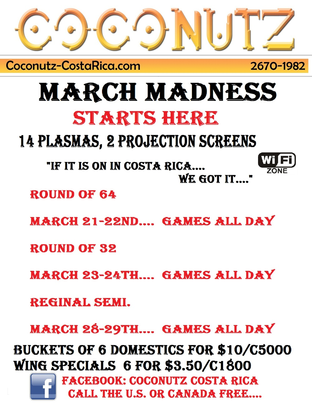 March Madness Games at Coconutz Costa Rica