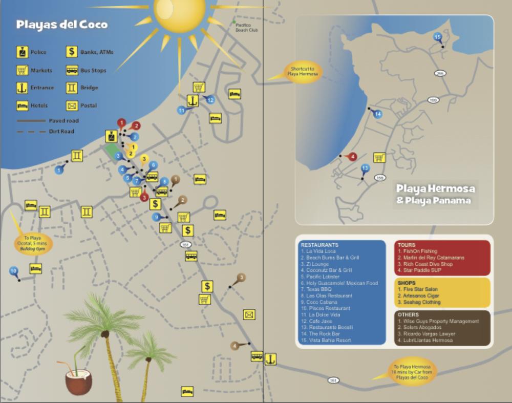 Playa Del Coco Costa Rica Map