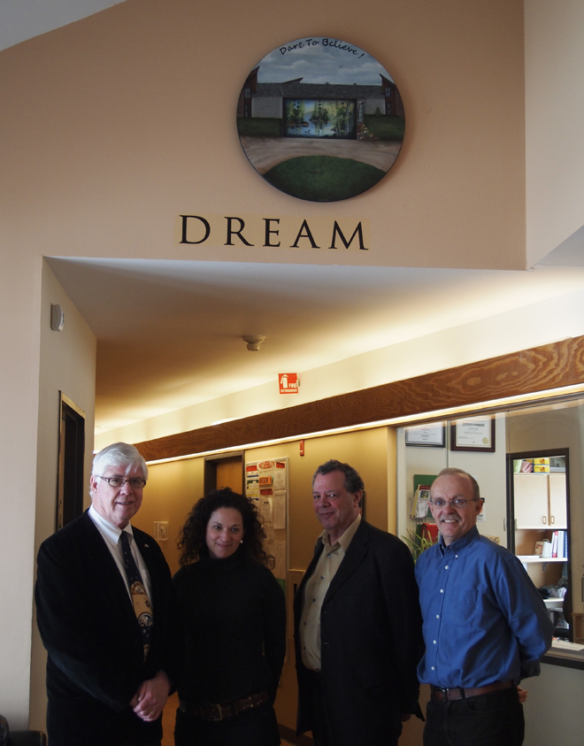 Mr. David Tilson, MP for our Dufferin-Caledon riding recently visited the school.  Here he is with Victoria, Vaughan and John.