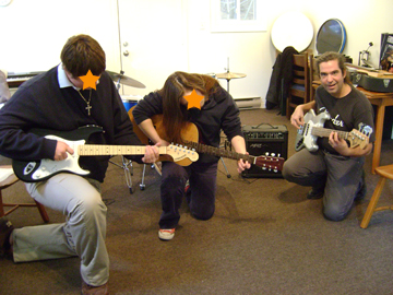 Remember music therapist Ed 'Special Ed' Roman? Here he is with two students trying out our new bass guitar, acoustic guitar, and amps, recently purchased thanks to a generous donation in support of our creative arts programming!  These are a great addition to the weekly music therapy groups, individual music instruction, and now, the student band!