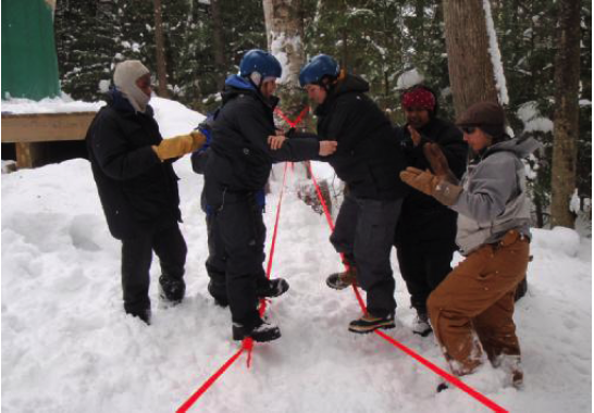 "Another awesome report from the OLE!  OLE therapist Jen Nicholson writes,  ""the group in the woods are far from discouraged. They continue to embrace ""Old Man Winter"" with creativity, outdoor adventure and the hope of transformation… one snowy day at a time.""  The proof is in the photos - check out the staff and students above with their homemade ropes course!"