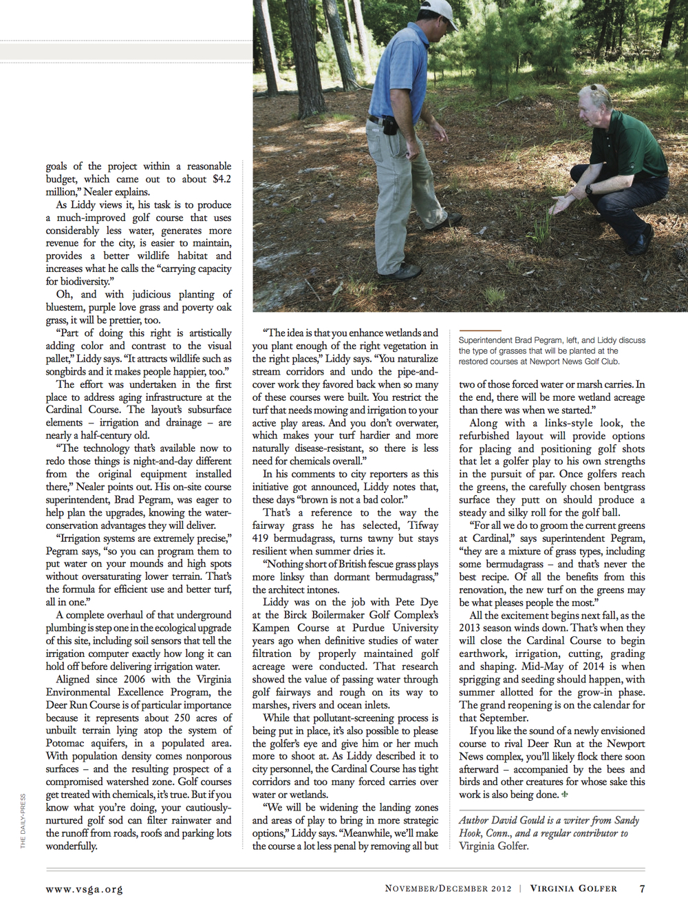 Gaining Ground by Foregoing Green Article (November December 2012 Virginia Golfer).jpg