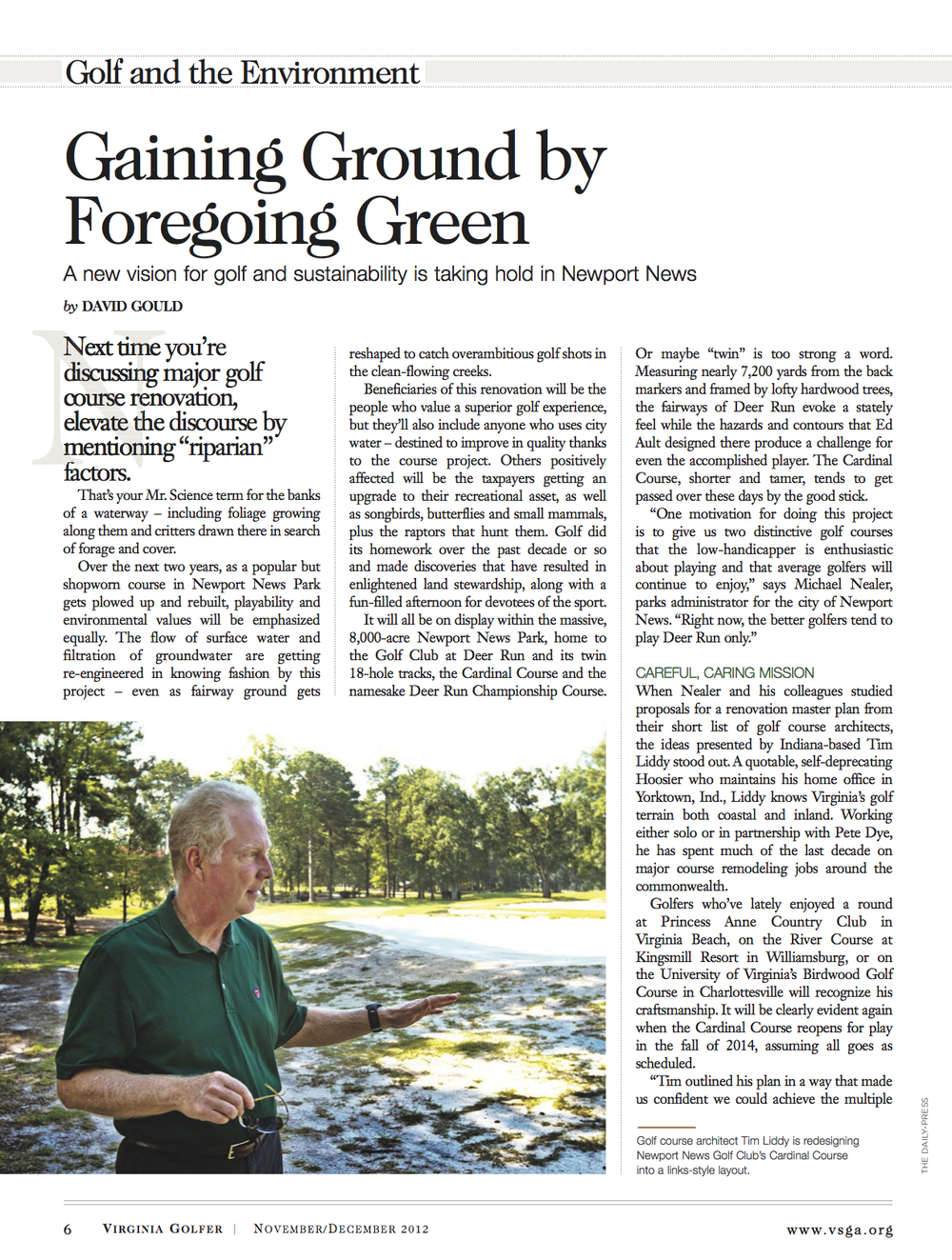 a Gaining Ground by Foregoing Green Article (November December 2012 Virginia Golfer).jpg