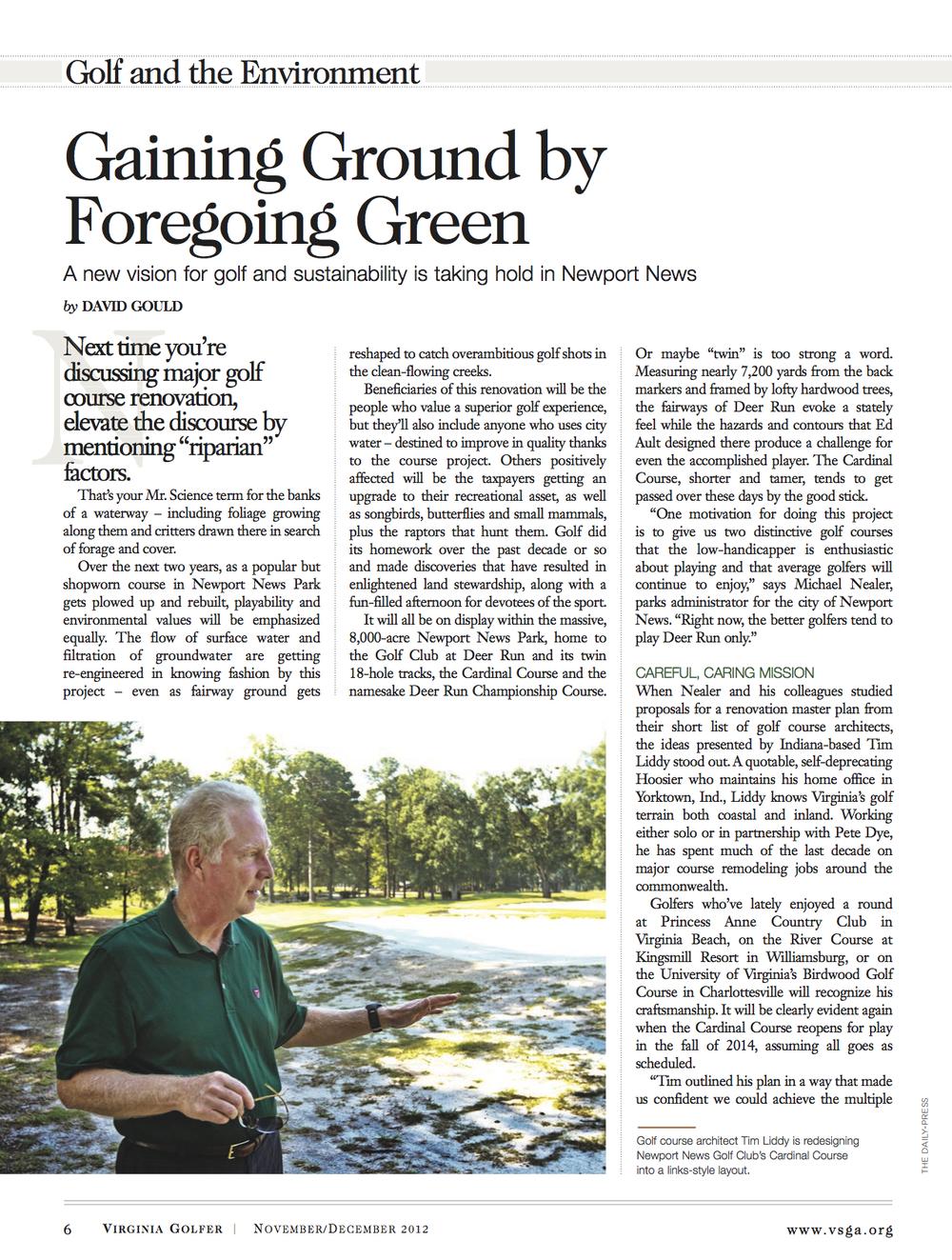 a Gaining Ground by Foregoing Green Article (November December 2012 Virginia Golfer).jpg