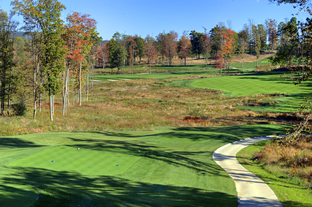 The par 4 second golf hole of Shepard's Rock at Nemacolin Woodlands Resort