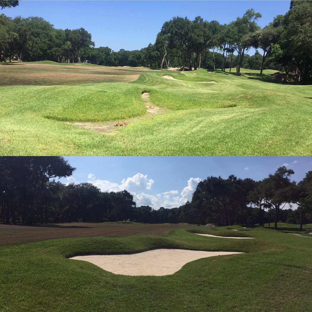 Before (top) and After (bottom) restoration of the bunkers at the Dye Course, Colleton River Plantation