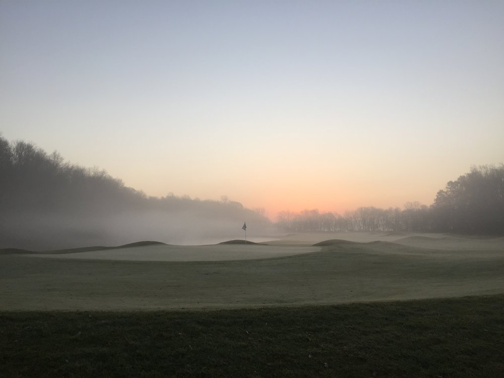 Sunrise on the par 5 seventeenth golf hole at Chatham Hills