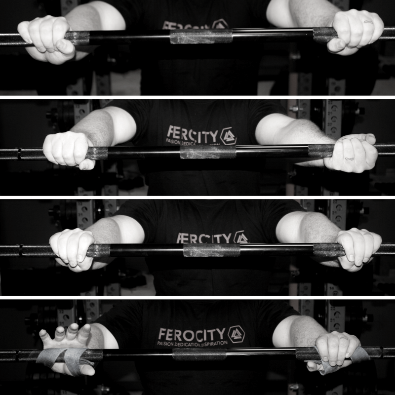 From top to bottom: double overhand grip, mixed grip, hook grip, and lifting straps - we'll talk about all of these in this post. Image courtesy of the always amazing Greg Nuckols of Strengtheory, check out his  deadlift guide .
