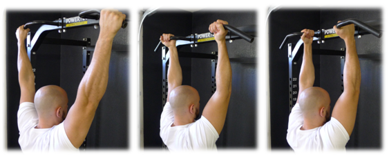 Photo courtesy of Bret Contreras - pullup, chinup, and neutral/parallel grip.