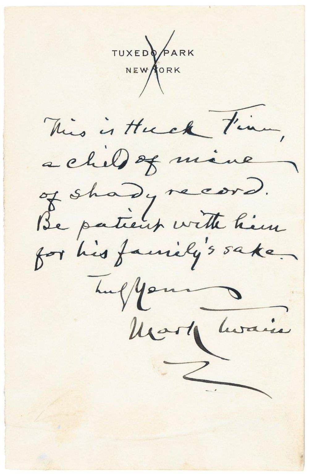 Mark Twain Letter