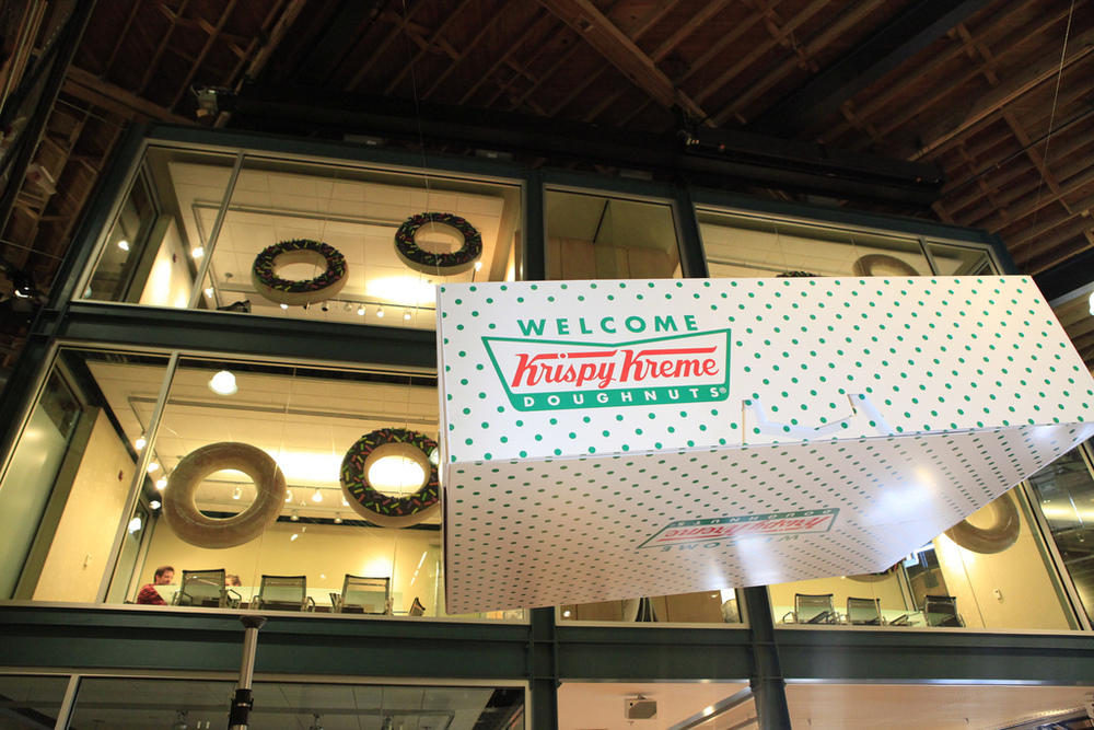 Giant Krispy Kreme box. Printed, constructed and suspended in the lobby.