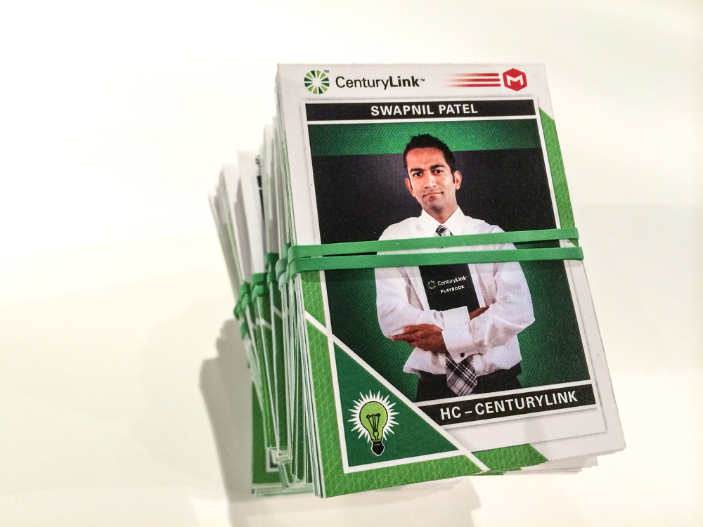 Custom trading cards that highlight employee's strengths/stats.