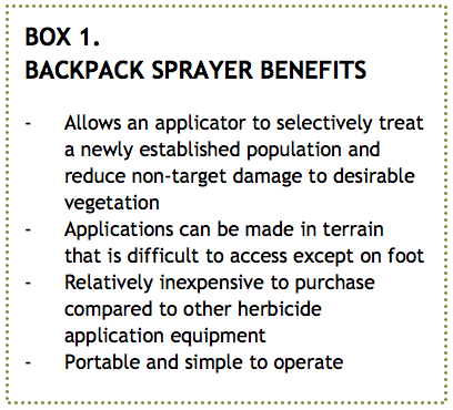 BOX 1. BACKPACK SPRAYER BENEFITS   >> CLICK TO ENLARGE