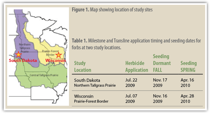 Figure 1. Map showing location of study sites    Table 1.  Milestone and Transline application timing and seeding dates for forbs at two study locations.