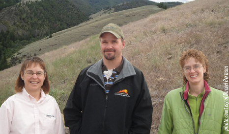 Pictured left to right, three of several Lemhi CWMA partners Shannon Williams, Daniel Bertram, and Diane Schuldt.