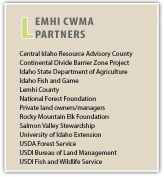 L  emhi CWMA   Partners    Central Idaho Resource Advisory County    Continental Divide Barrier Zone Project   Idaho State Department of Agriculture   Idaho Fish and Game   Lemhi County   National Forest Foundation   Private land owners/managers   Rocky Mountain Elk Foundation   Salmon Valley Stewardship   University of Idaho Extension    USDA Forest Service   USDI Bureau of Land Management   USDI Fish and Wildlife Service