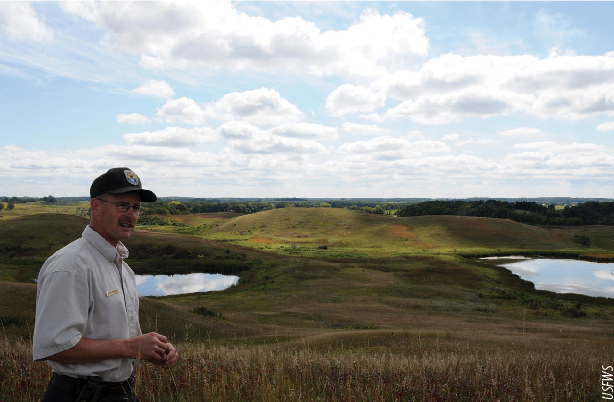 Scott Glup, project leader on the Litchfield Wetland Management District, explains that tallgrass prairie is one of the rarest and most fragmented ecosystems in North America. Protecting and preserving grasslands from invasive woody vegetation can greatly improve the quality of habitat for grassland wildlife.
