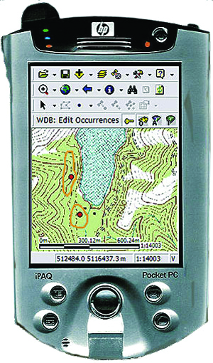 ArcPad, displayed here on a handheld device, is a powerful mapping application that is easy to use and affordable.