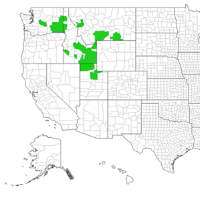 Figure 1. Distribution of White bryony in the Western United States (EDDmapS 2017).