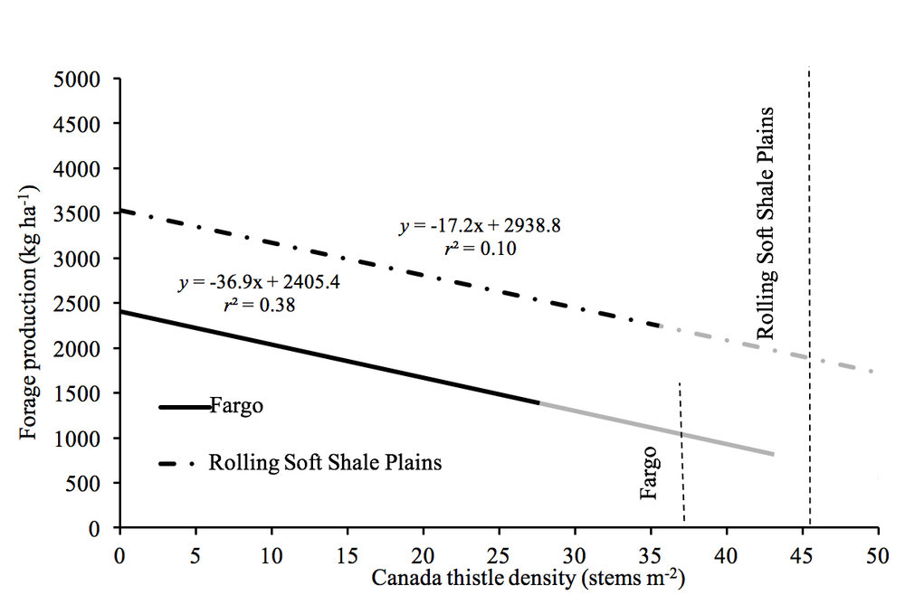 FIGURE: Economic threshold for control of Canada thistle with aminopyralid applied at 120 g ha-1 based on forage response at Fargo and the Rolling Soft Shale Plains in North Dakota in 2015 and 2016.  Maximum stem density at the study sites was 27 stems m-2 in Fargo and 35 stems m-2 in the Rolling Soft Shale Plains. Gray segments were an extrapolation beyond observed Canada thistle densities to estimate cost-effective stem density required for treatment based on forage response. The standard error of the mean was 10.1 and 8.3 at the Fargo and Rolling Soft Shell Plains locations, respectively (Rod Lym, personal communication 2018).