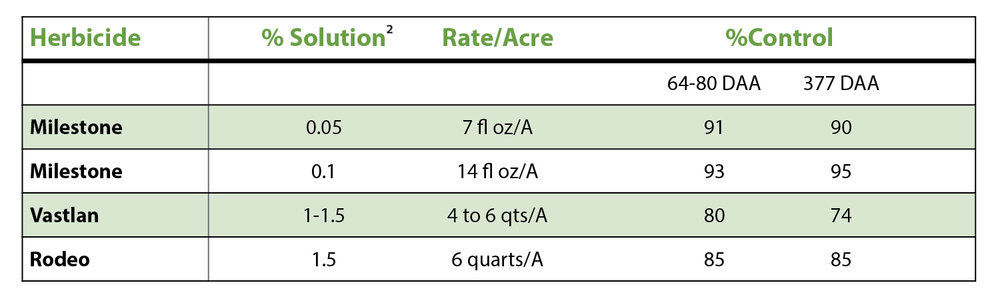 TABLE 1:   Percent purple loosestrife control with Milestone® or Vastlan® specialty herbicides, compared to Rodeo® herbicide the season of application and one year following application. [ 1 ]  (DAA=Days After Application)