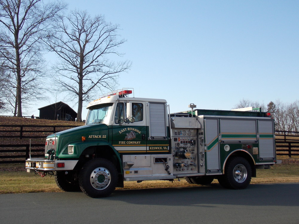 2001 Freightliner, Wildland Urban Interface Attack Vehicle built by Pierce Maximum Crew: 2 Pump: 500 GPM Water: 500 Gallon Tank Foam: 30 Gallon Tank Attack 22 is the only vehicle of its kind in Central Virginia and its primary purpose is to protect threatened structures during wildfires.