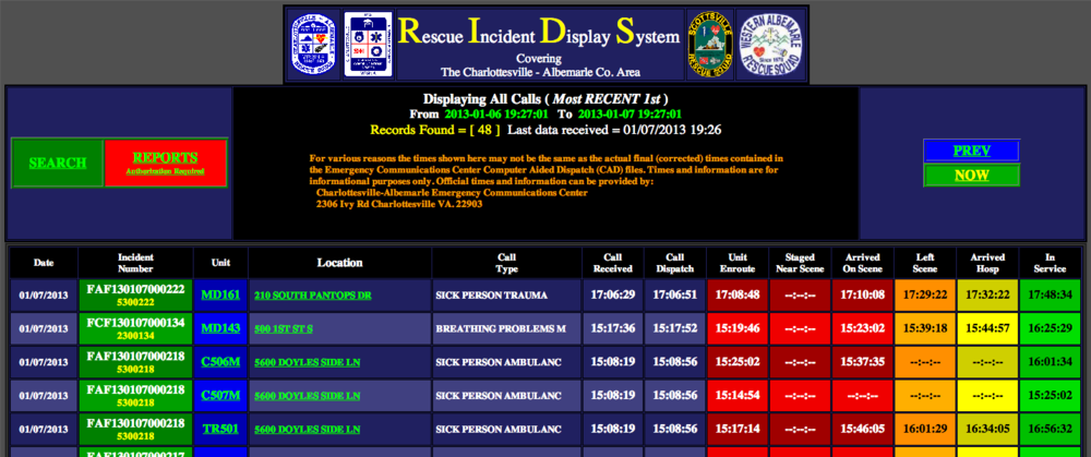 Rescue Incident Display System