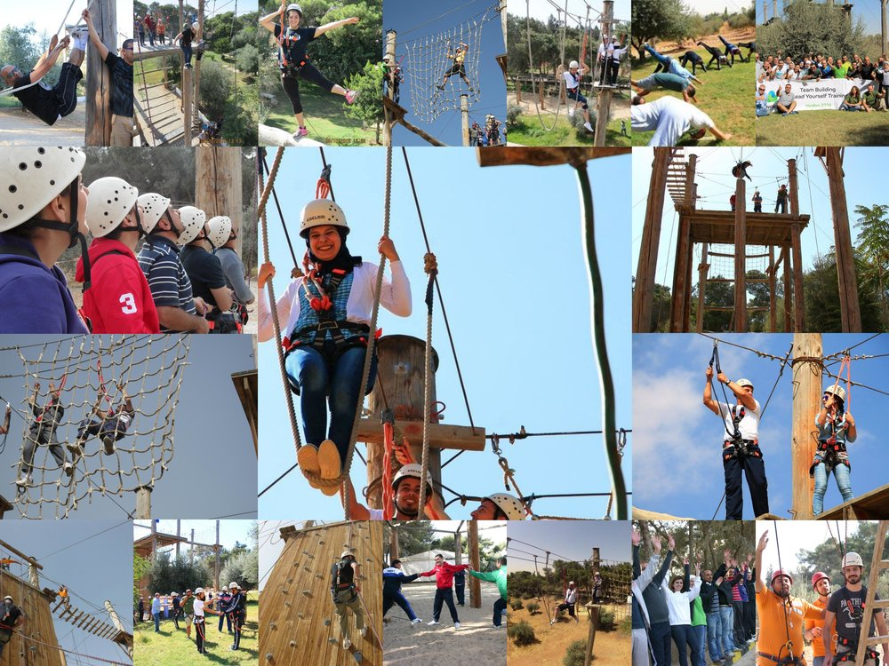 "A ropes course is a challenging outdoor personal development and team building activity, it consists of high and/or low elements. Low elements  take place on the ground or only a few feet above the ground. High elements are usually constructed in trees or made of utility poles  and require a belay for safety.    The Challenge Course is a unique program: it is a high reward, seemingly risky activity, as the risk is greatly minimized by strict and thorough safety measures. The participants may logically understand that they are safe, but their knees still shake when they are 30 feet up. In other words, the perceived risk is much greater than the actual risk. This is what makes the Ropes Course a mental challenge as well as a physical one.    The value of the ropes course is recognized in a broad range of activities, including education, recreation, therapy, and organizational development. The combination of Low and High Ropes Courses enables participants to grow at the team and individual levels, exploring risk, leadership, communication, problem-solving, and coaching.    The high ropes Course also emphasizes risk-taking, decision making and trust, and allows the individual to understand how to set and achieve personal goals. The challenges of this course allow participants to expand their comfort zones—sometimes dramatically—and recognizes fears that may block personal achievement. Each moment is rich with discoveries, whether a person is climbing, supporting ""on belay,"" or finding an effective way to encourage a teammate.    The Low Ropes Course focuses on problem solving, collaboration, teamwork, communication and leadership, is physically challenging in parts and usually results in clients gaining a better of working in a team to achieve an outcome."