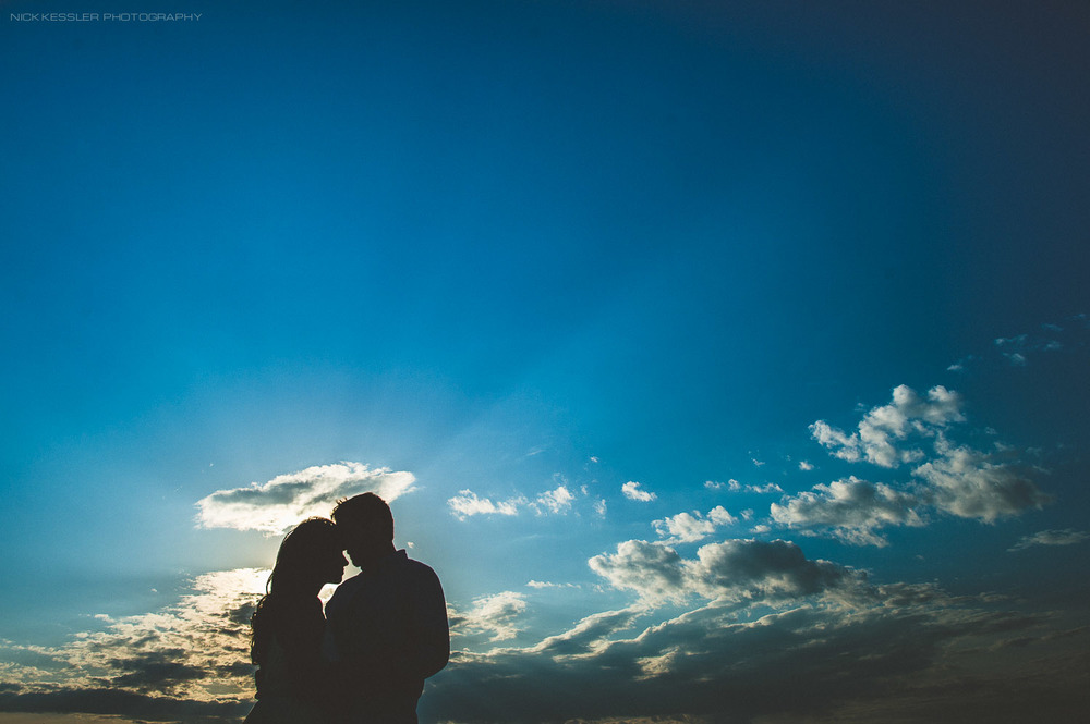 silhouette from farm engagement shoot