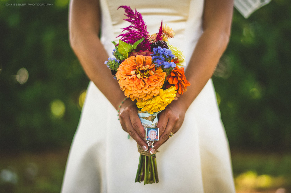 bouquet with picture of grandmother