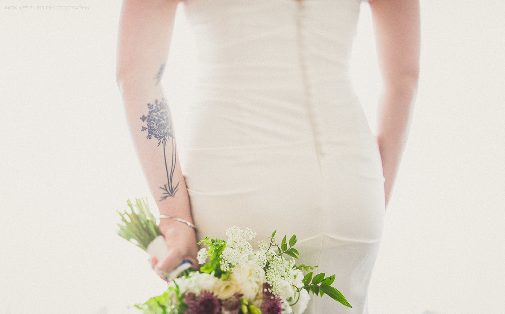 portrait of bride with tattoo