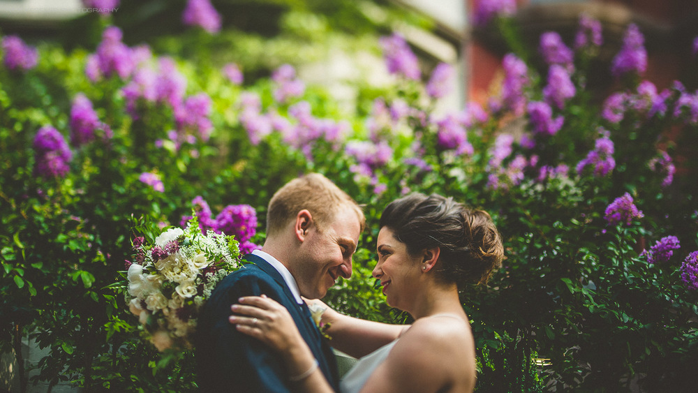 portrait of bride and groom in DC