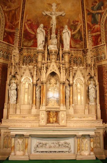 Original marble altar installation