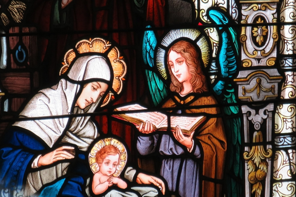 Stained Glass window depicting The Nativity of Our Lord by Emil Frei and Associates