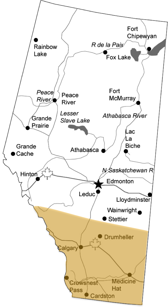 Alberta, Canada (Southern Alberta highlighted in yellow)