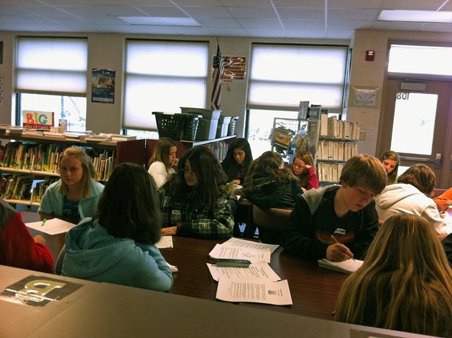 North Jackson Middle School students writing in a workshop by visiting author Donny Bailey Seagraves