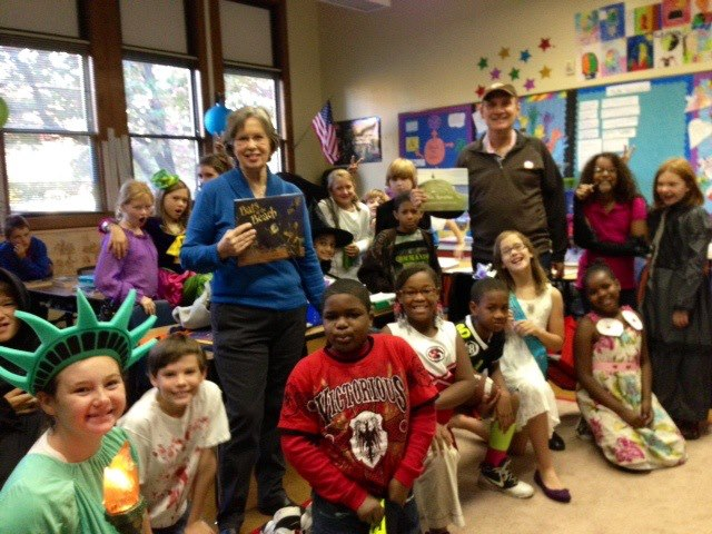 Author Donny Bailey Seagraves and R.E.M. manager Bertis Downs as guest readers at Barrow Elementary School.