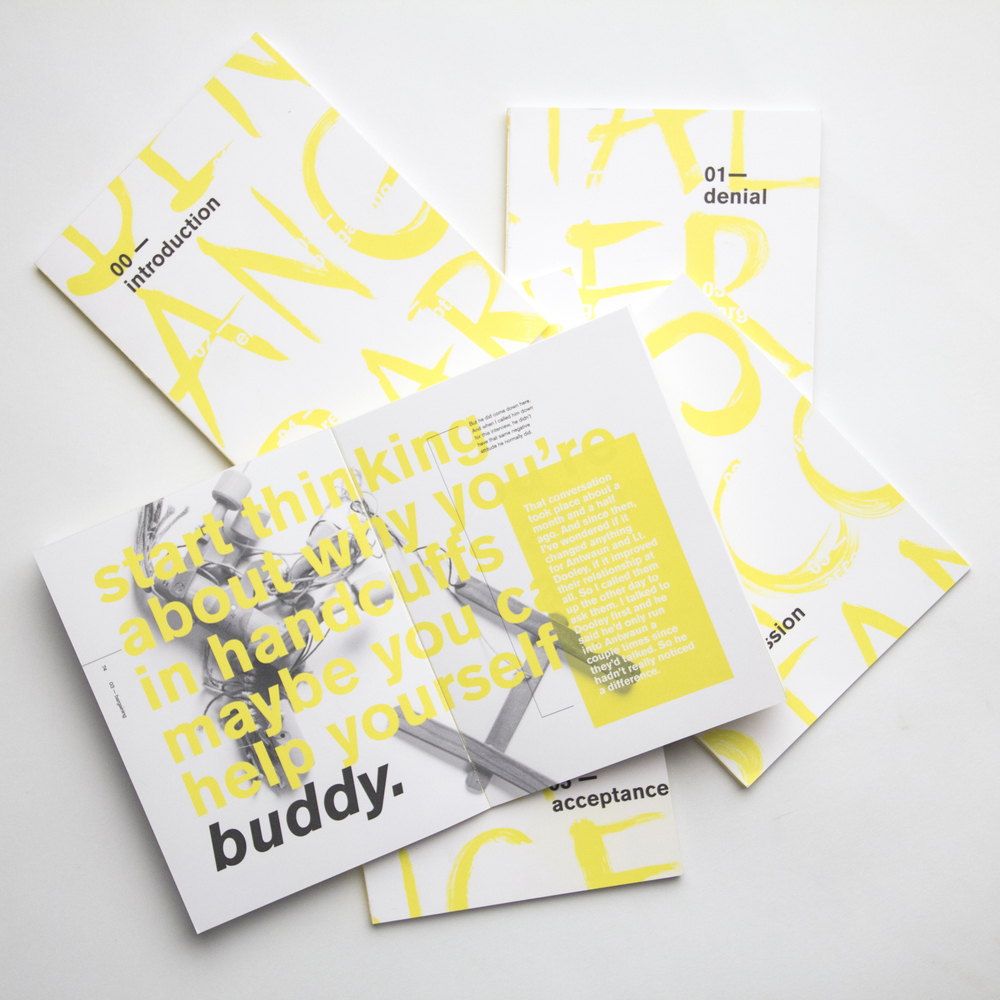 The louder conversation shouts in the composition, while the quiet interview from This American Life remains small, and background information is given in white on yellow.