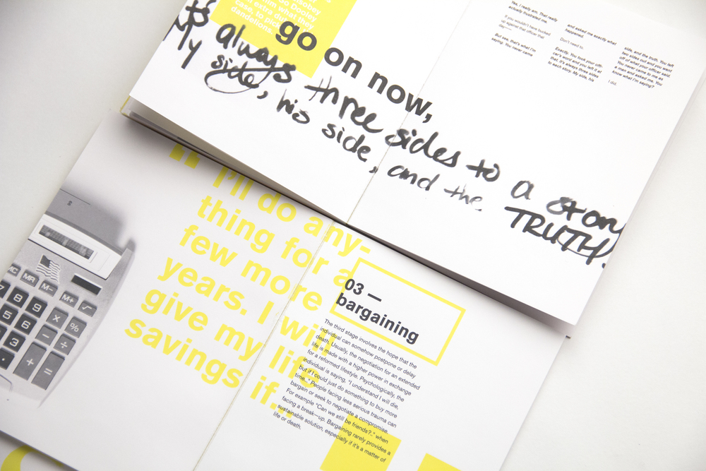 Choice quotes were rendered in handmade type to draw attention and establish a better emotional connection to readers.