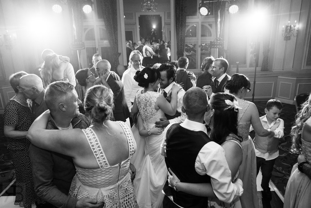 A moment after a wedding first dance.