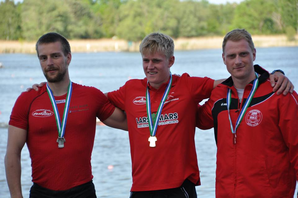 Casper Pretzmann efter sejren i Herre Senior K1 5.000m. ved Brandenburg regatta